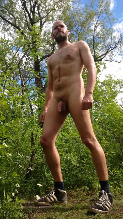 Jade Sambrook taking walk in the woods while nude on a beautiful summer day.